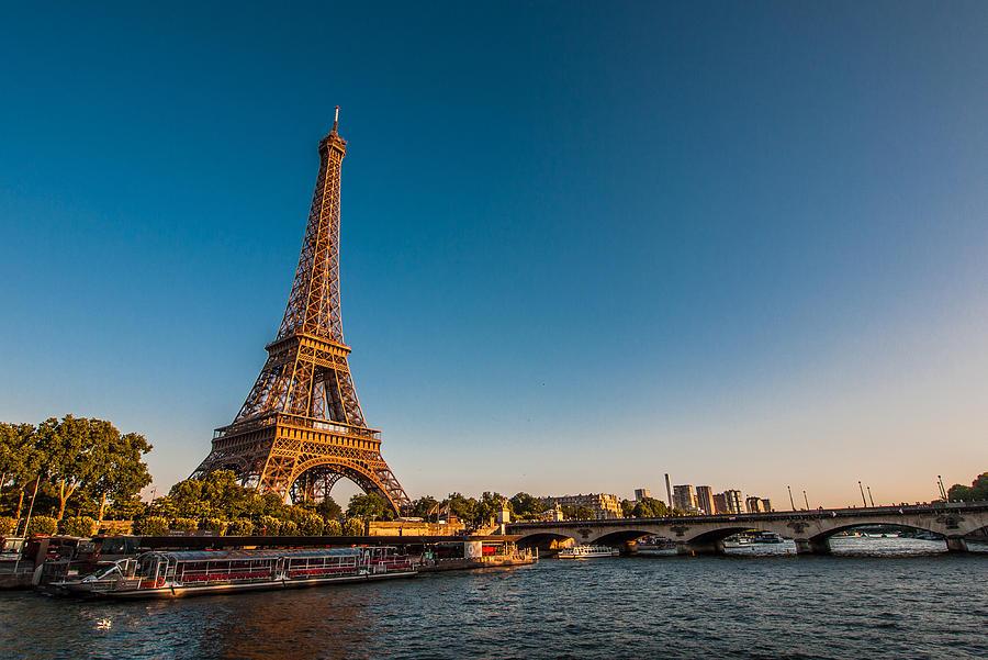Horizontal Photograph - Eiffel Tower And Bridge by (C) Thanachai Wachiraworakam
