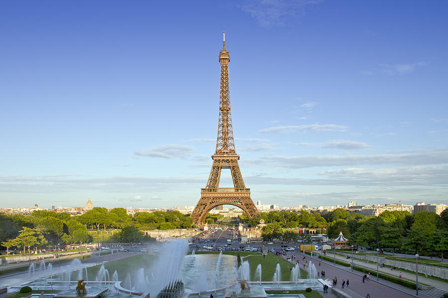 Historic Photograph - Eiffel Tower With Fontaines by Melanie Viola