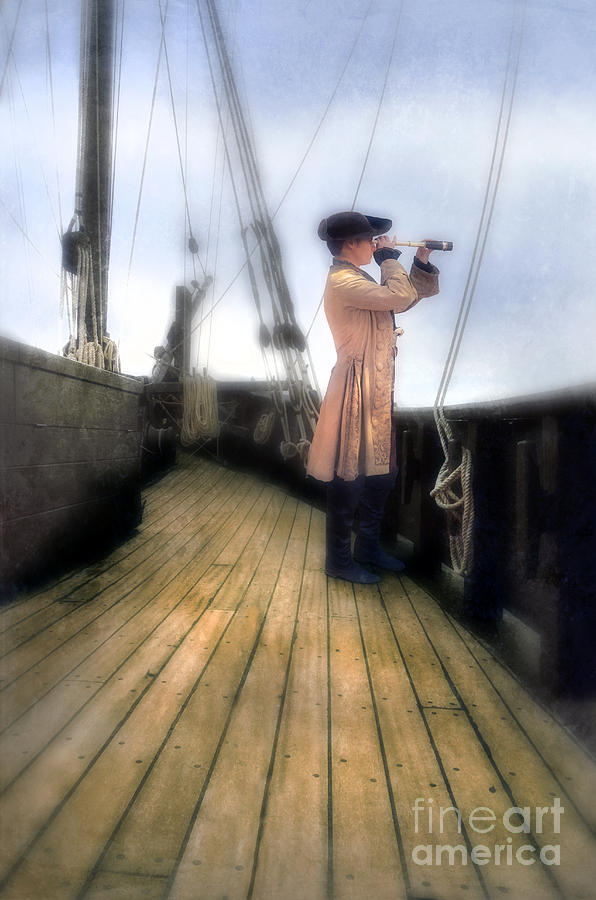 Gentleman Photograph - Eighteenth Century Man With Spyglass On Ship by Jill Battaglia