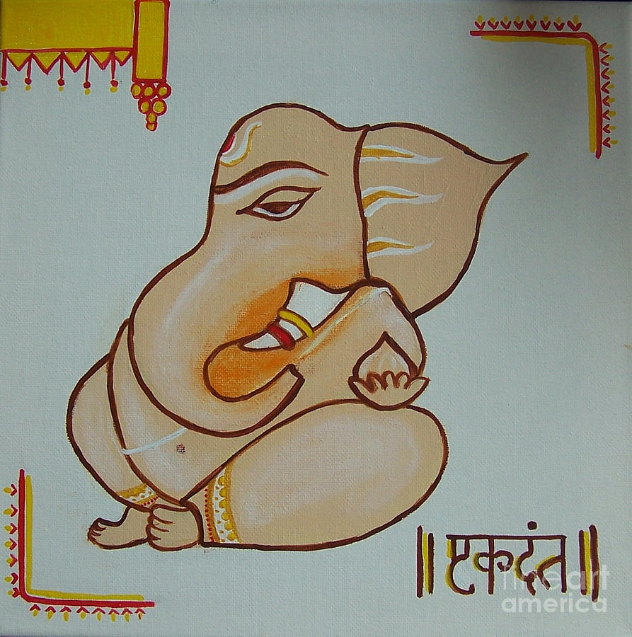 Ganesh Painting - Ekdanth by Anu Darbha