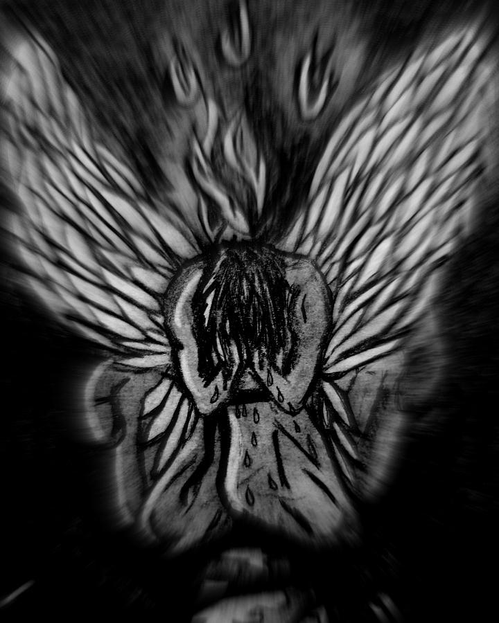 Angel Photograph - El Angel Black And White by MikAn sArt