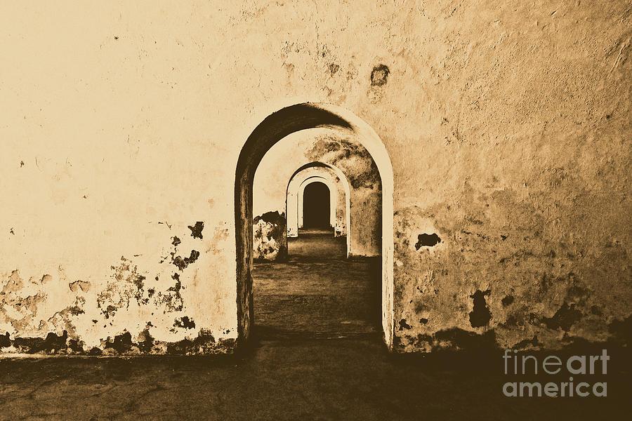 El Morro Photograph - El Morro Fort Barracks Arched Doorways San Juan Puerto Rico Prints Rustic by Shawn OBrien