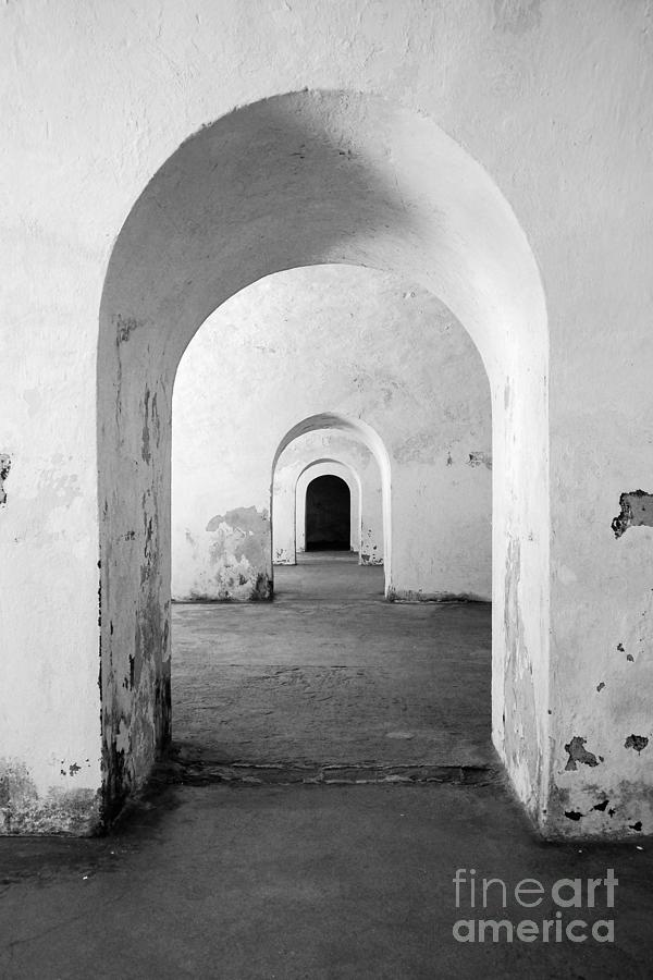 El Morro Photograph - El Morro Fort Barracks Arched Doorways Vertical San Juan Puerto Rico Prints Black And White by Shawn OBrien