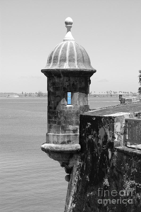 El Morro Photograph - El Morro Sentry Tower Color Splash Black And White San Juan Puerto Rico by Shawn OBrien