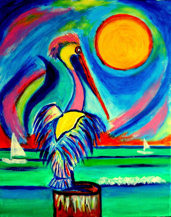 El Pelicano Playa Sol Painting by Ted Hebbler