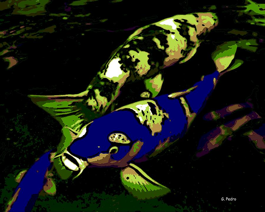 Koi Photograph - Electric Blue by George Pedro