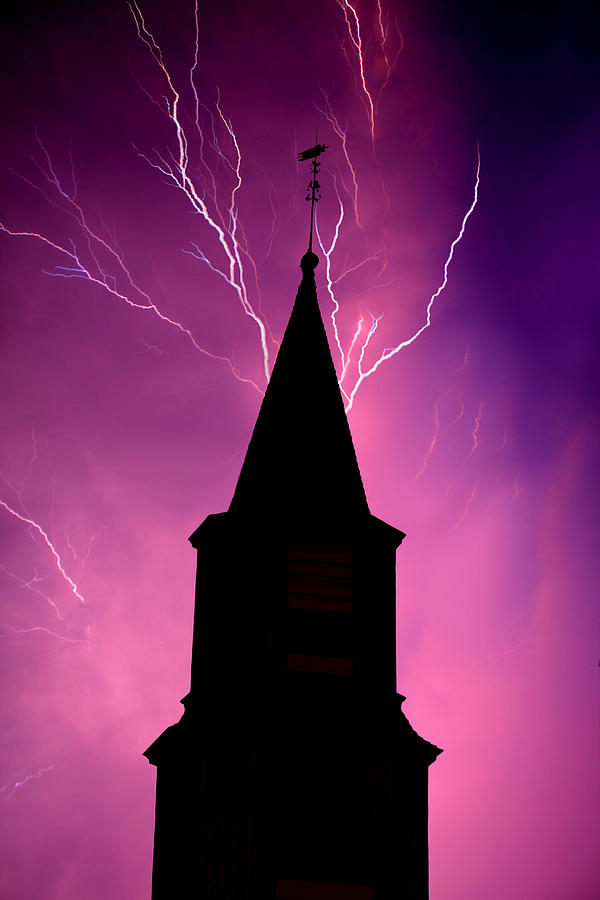 Lightning Photograph - Electric Church by Tim Scullion