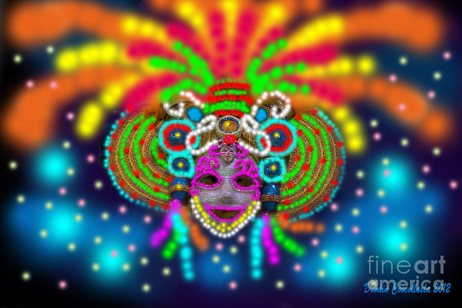 Colorful Photograph - Electric Masskara by Dindin Coscolluela