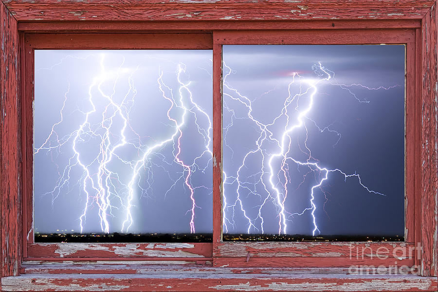 Picture Photograph - Electric Skies Red Barn Picture Window Frame Photo Art  by James BO  Insogna