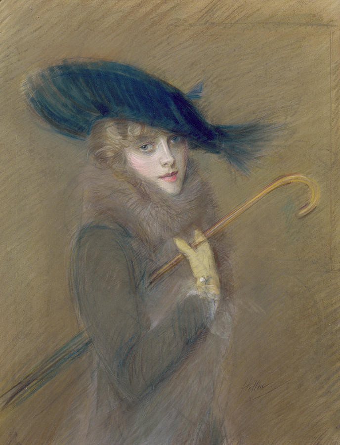 Elegant Lady Painting By Paul Cesar Helleu
