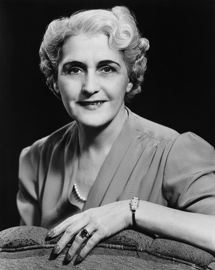 Adult Photograph - Elegant Mature Woman Smiling, (b&w), Portrait by George Marks