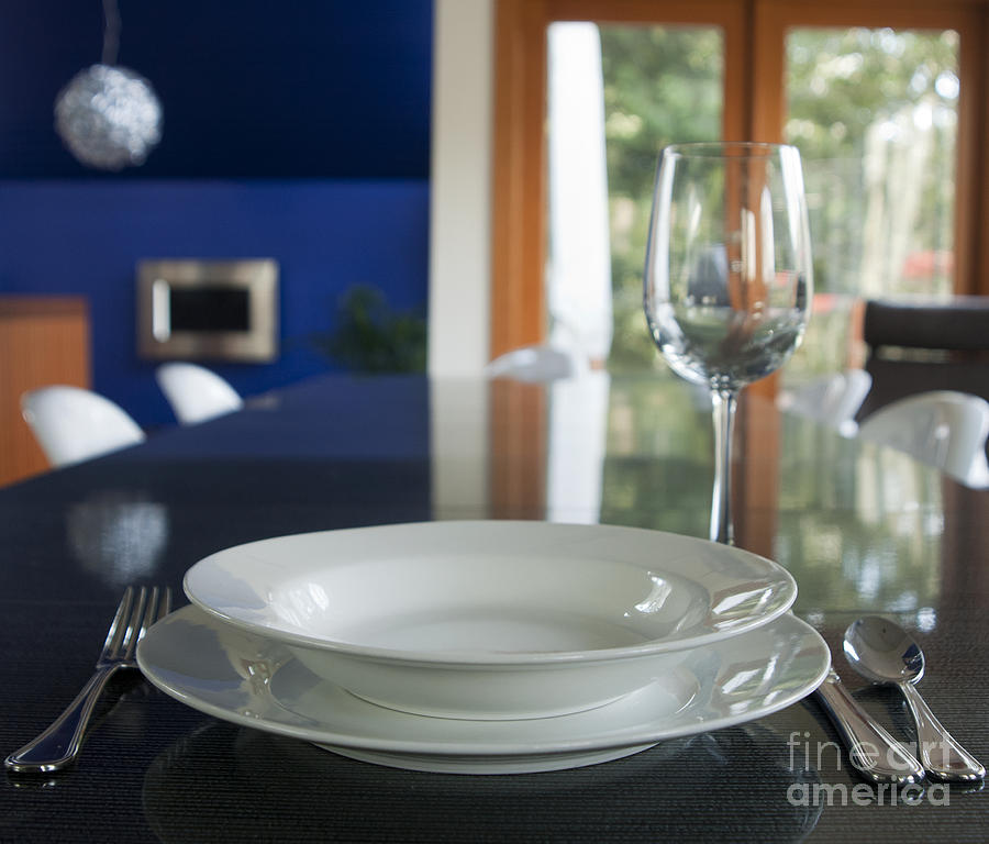 Bowl Photograph - Elegant Place Setting In A Dining Room by Marlene Ford