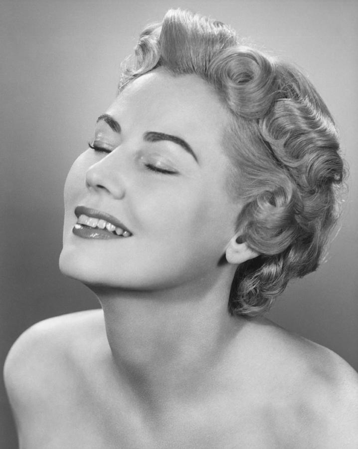 Adult Photograph - Elegant Woman Posing In Studio, Eyes Closed,  (b&w), Portrait by George Marks