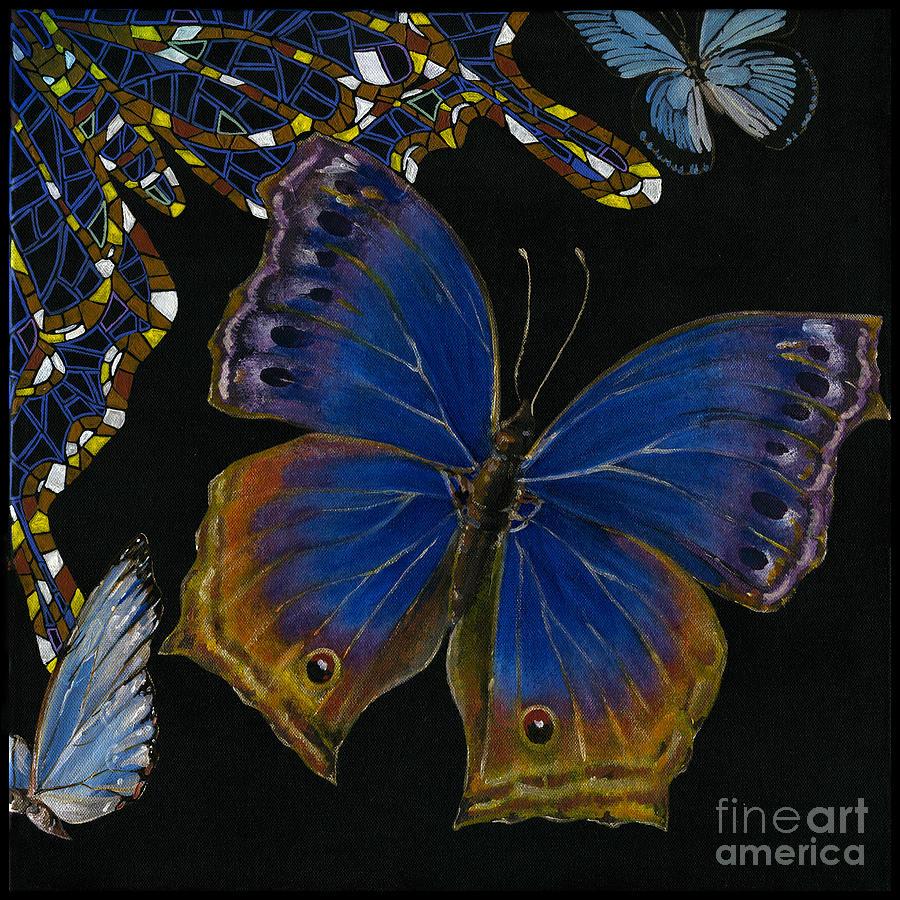 Butterfly Painting - Elena Yakubovich - Butterfly 2x2 Lower Right Corner by Elena Yakubovich