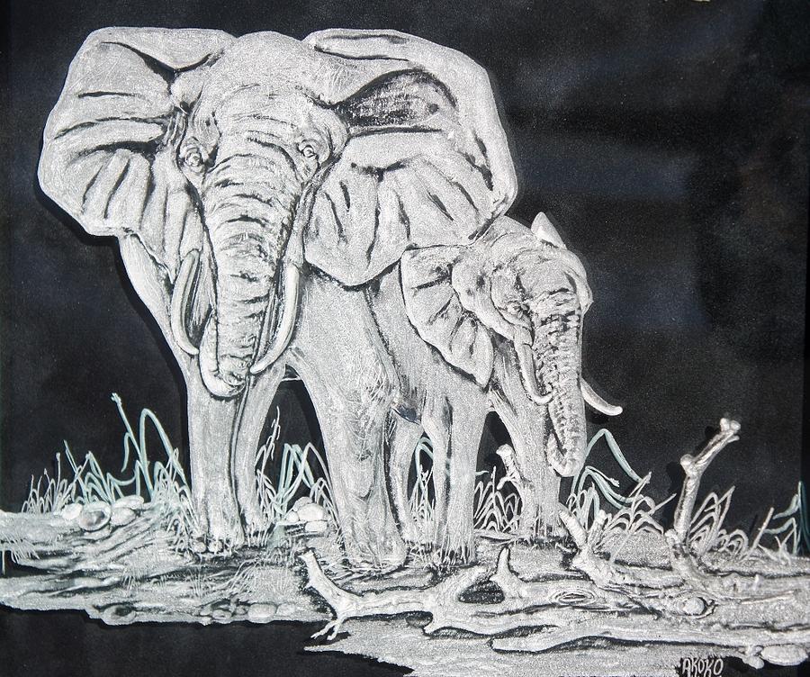 Fineartamerica Painting - Elephant And Calf by Akoko Okeyo