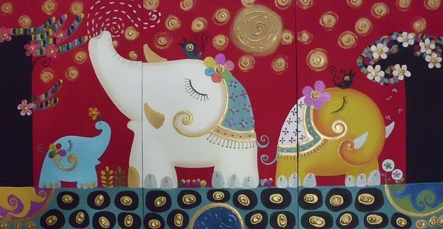 Elephant Painting - Elephant Family. by Suwannee Wannasopha