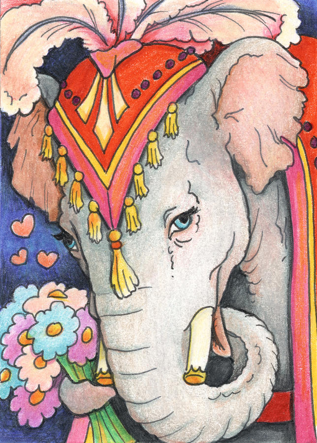 Parade Drawing - Elephant Flowers by Amy S Turner