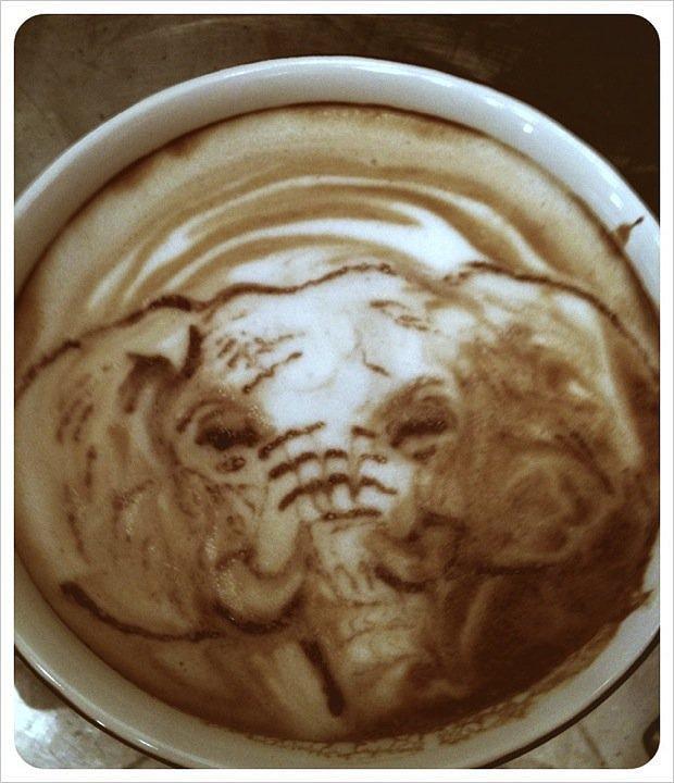 Elephant Latte Art Portrait Mixed Media by Taylor Higgins