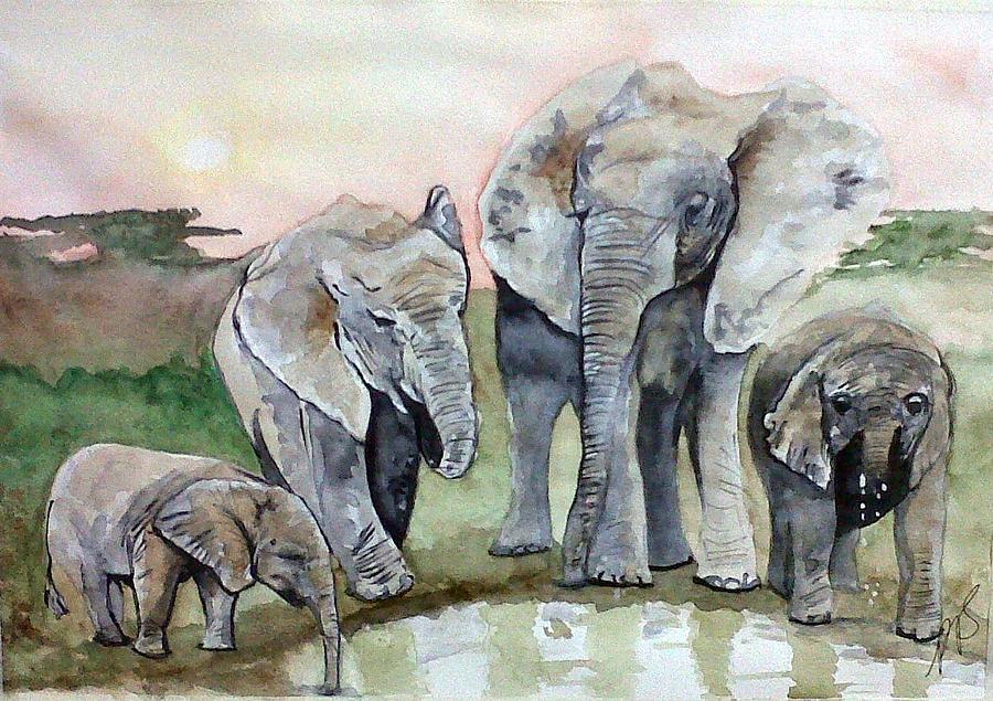 Elephants Painting - Elephants For Mum. by Paula Steffensen