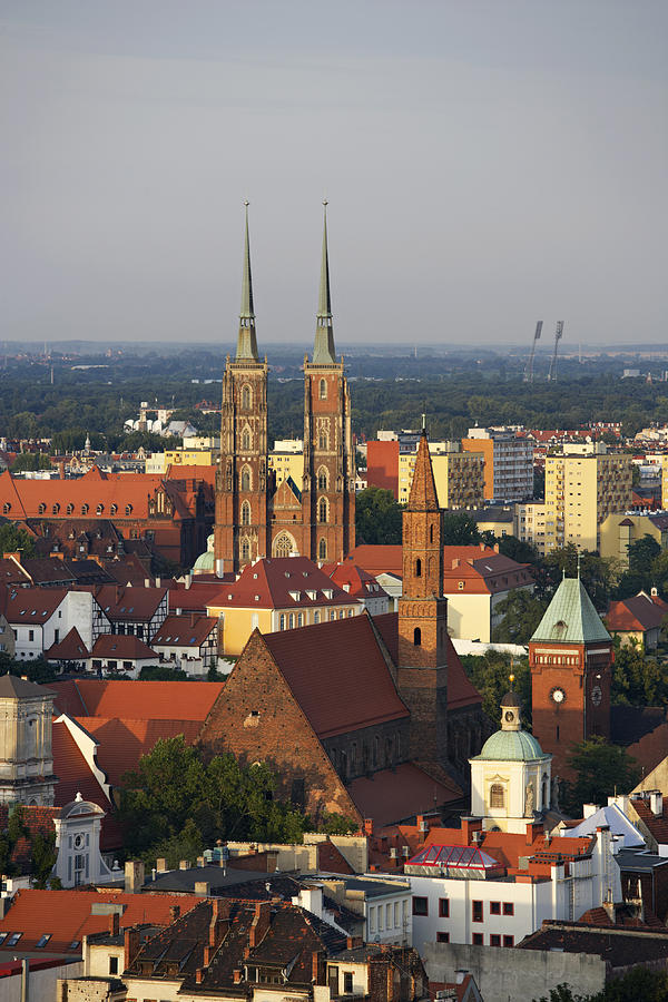 Vertical Photograph - Elevated View Of Wroclaw With Church Spires by Guy Vanderelst