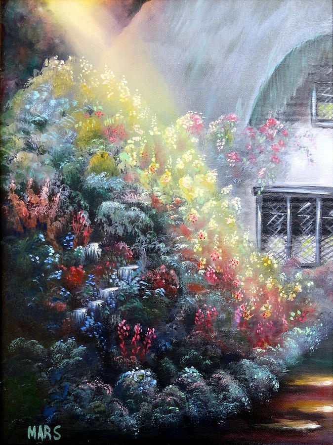 Cottage Painting - Elglish Garden Cottage by Peggy Mars