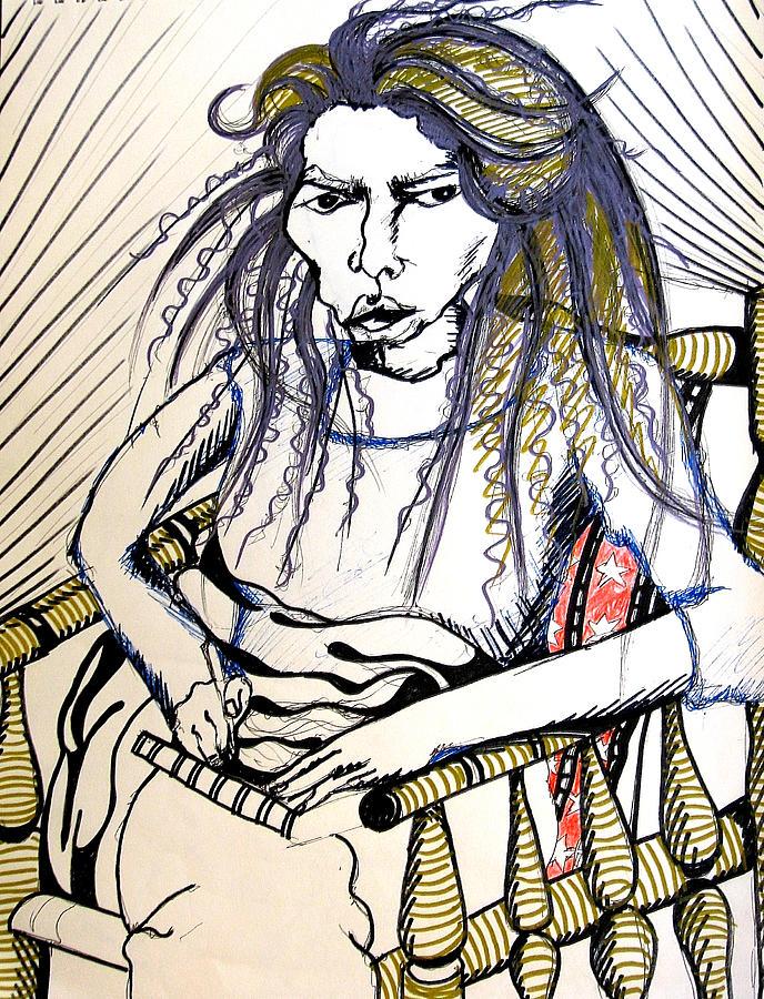 Femal Drawing - Elham by Nina Mirhabibi