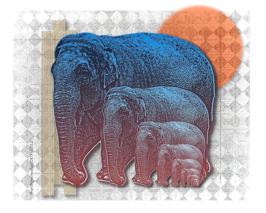 Elephants Digital Art - Elifents by Mimulux patricia No