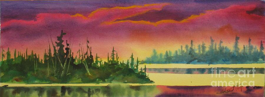 Elk Island Sundown 3 Painting