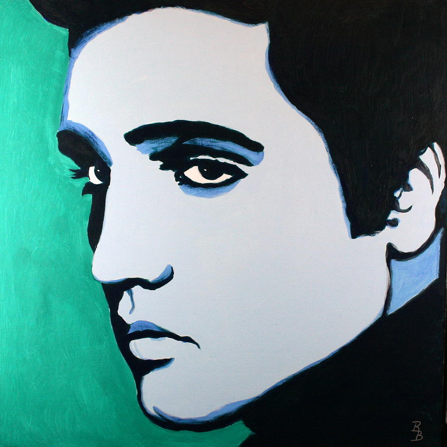 Elvis Presley Blue Green Painting By Bob Baker