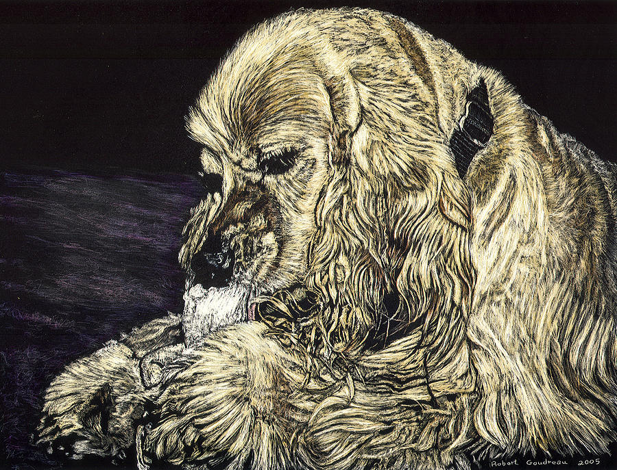 Dog Painting - Elvis The Dog by Robert Goudreau
