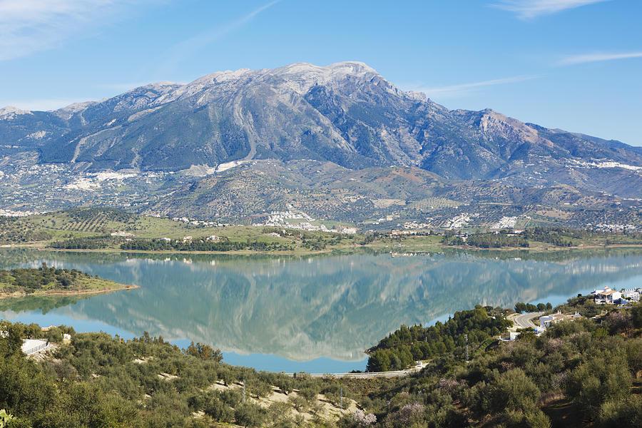Horizontal Photograph - Embalse De La Vinuela, Vinuela Reservoir, Spain by Ken Welsh