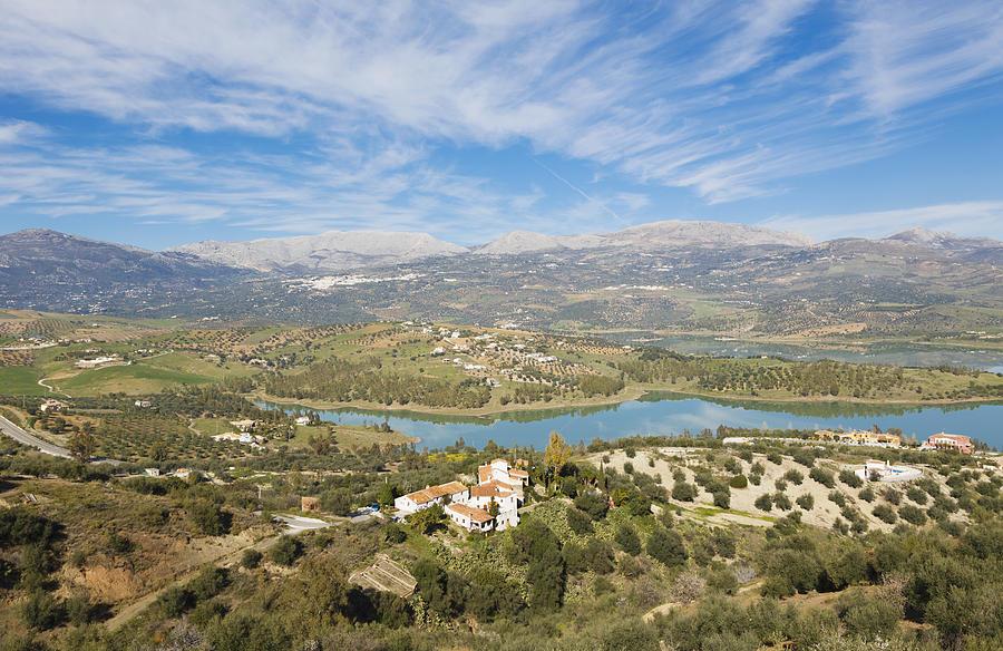 Horizontal Photograph - Embalse De La Viñuela, Vinuela Reservoir, Spain by Ken Welsh