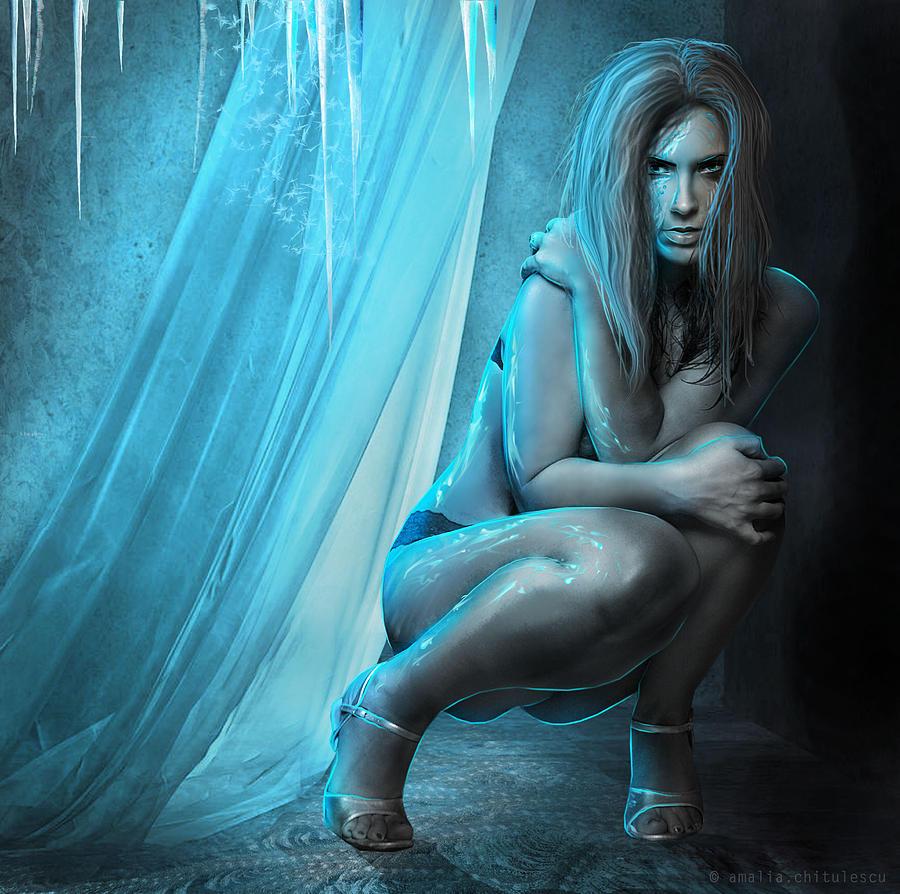Amalia Iuliana Chitulescu Digital Art - Embracing Eternal Cold by Amalia Iuliana Chitulescu