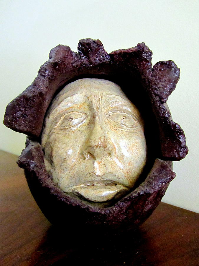 Emerging Sculpture - Emerging White Pale Face Born Out Of A Brown Purple Thing Eyes Nose Mouth by Rachel Hershkovitz