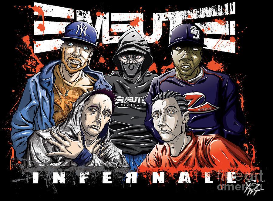 Infernale Drawing - Emeute Infernale - Black Version by Tuan HollaBack
