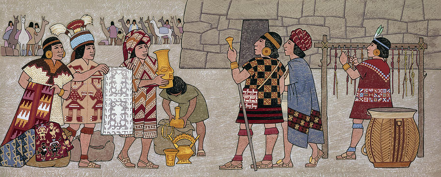 Illustration Photograph - Emissaries Bring Tribute To Inca by Ned M. Seidler