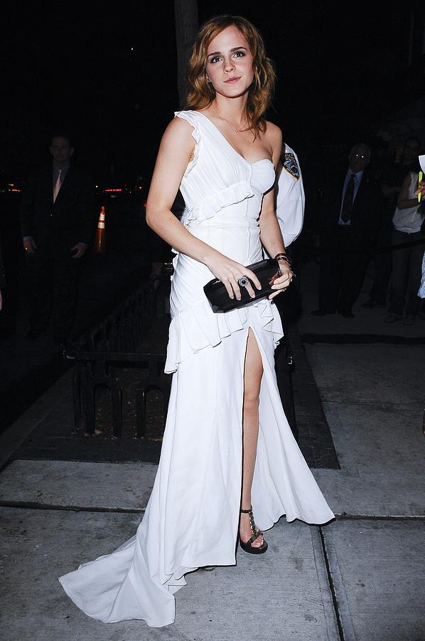 Emma Watson Photograph - Emma Watson Wearing A White by Everett