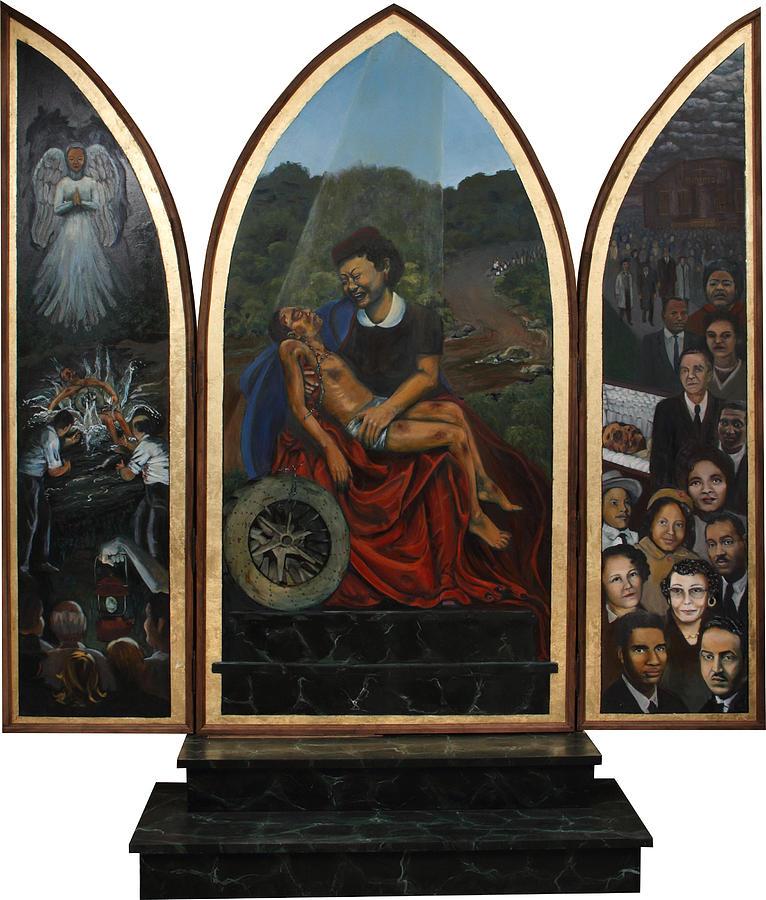 Emmett Till Painting - Emmett Till Memorial Triptych by Art Nomad Sandra  Hansen