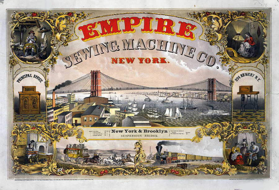 New York City Mixed Media - Empire Sewing Brooklyn by Charles  shoup