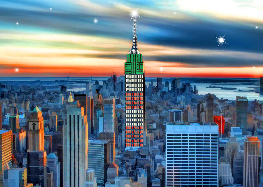 Empire state building and new york skyline at xmas for New york skyline painting