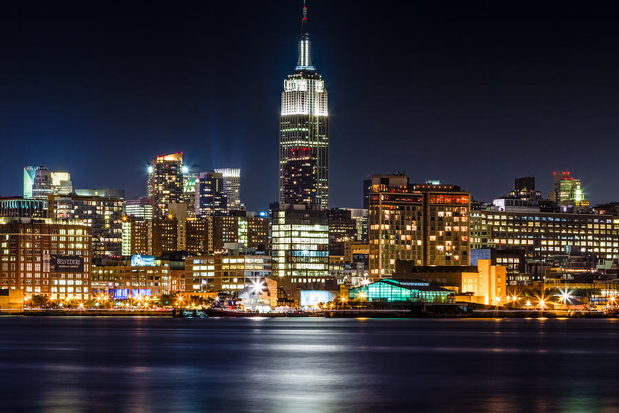 New York Photograph - Empire State Building From Hoboken by Val Black Russian Tourchin