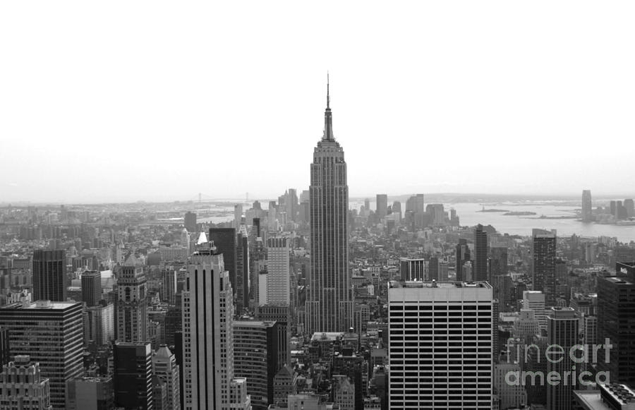 New york city photograph empire state building in black and white by living color photography