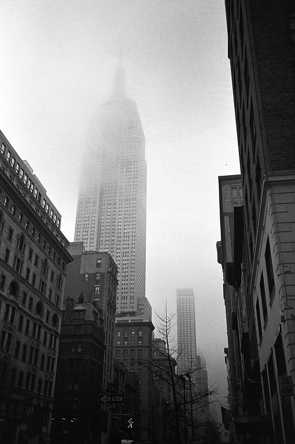 Vertical Photograph - Empire State Building In Fog by Adam Garelick