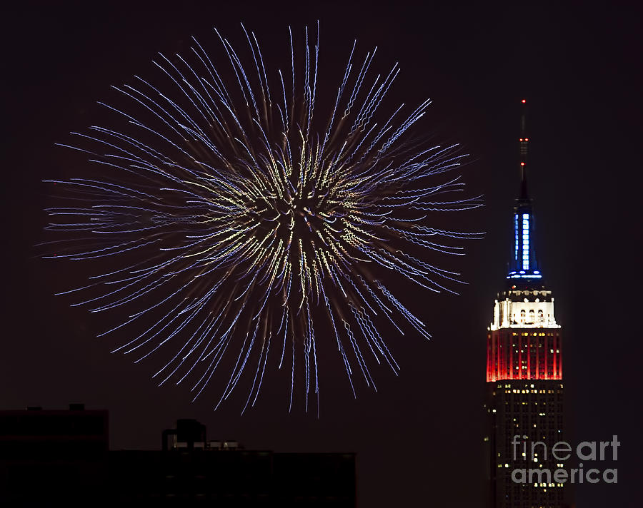 Empire State Building Photograph - Empire State Fireworks by Susan Candelario