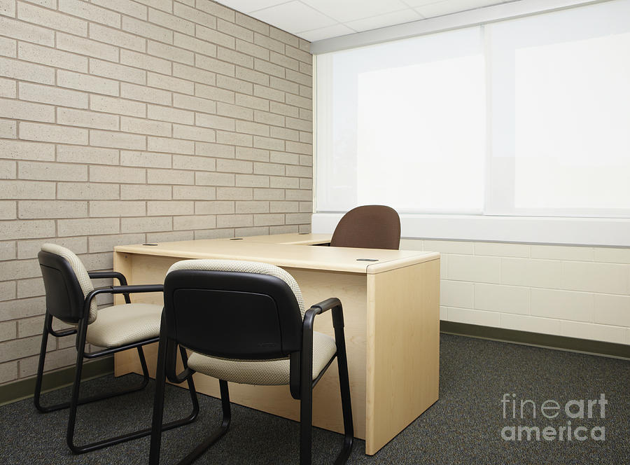 Abandoned Photograph - Empty Desk In An Office by Skip Nall