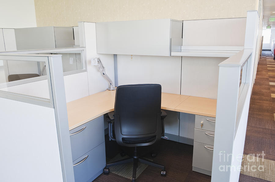 Architecture Photograph - Empty Office Cubicle by Jetta Productions, Inc