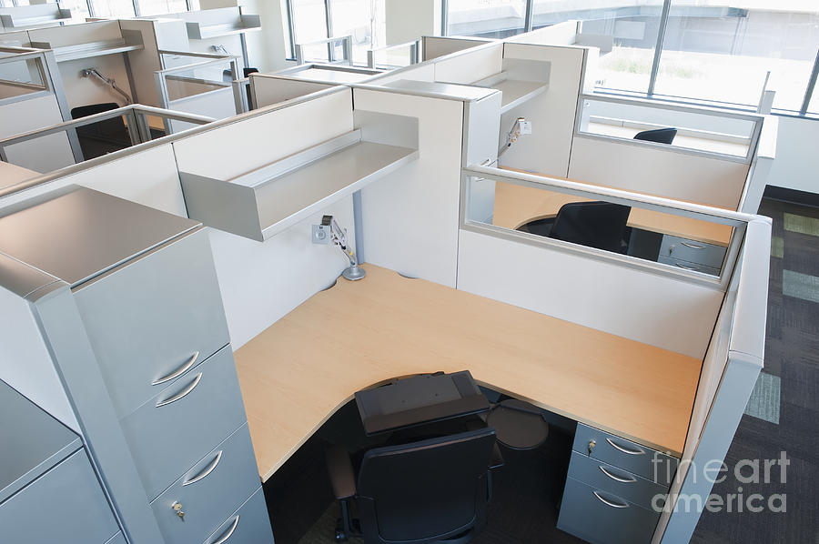 Architecture Photograph - Empty Office Cubicles by Jetta Productions, Inc