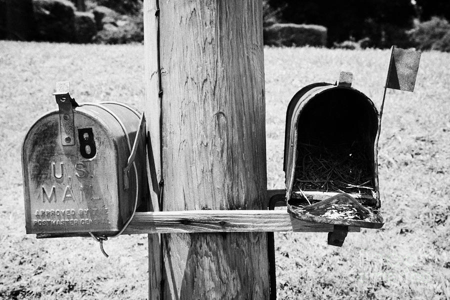 America Photograph - empty old used american private mailboxes one with birdsnest in Lynchburg tennessee usa by Joe Fox