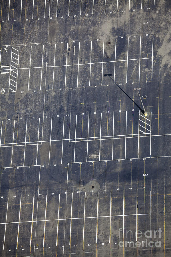 Aerial Photograph - Empty Parking Lot by Don Mason