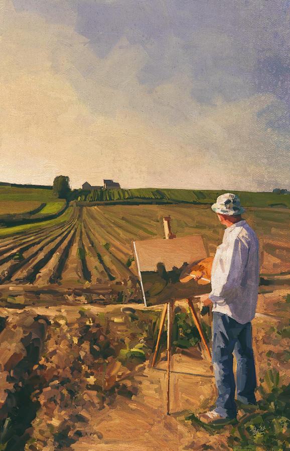 En Plein Air Painting - En Plein Air Painter Self Portrait by Nop Briex